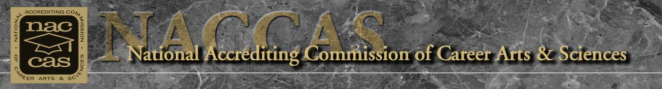 "NACCAS header graphic: ""National Accrediting Commision of Career Arts & Sciences"""